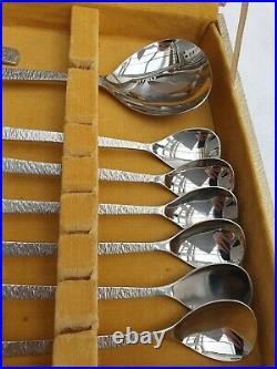 Vintage Viners Studio Cutlery Canteen Bark Design Gerald Benney Dessert Set 26