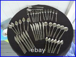 Vintage retro wiltshire burgundy stainless steel cutlery set for 6 44 piece